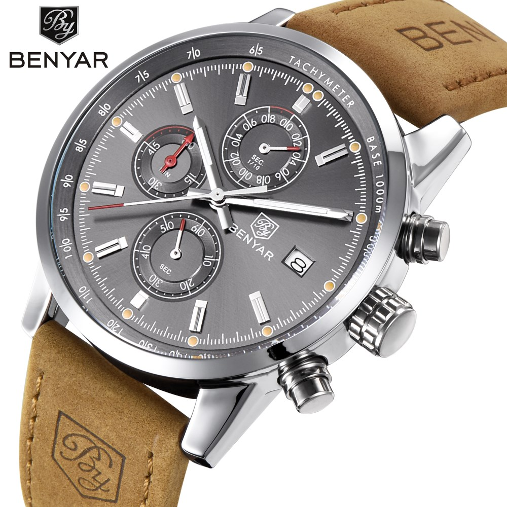 Luxury Brand BENYAR Men Watches Fashion Sports Reloj Hombre Military Multifunction Waterproof Quartz Watch Relogio Masculino winner skeleton mechanical watch luxury men black waterproof fashion casual military brand sports watches relogios masculino