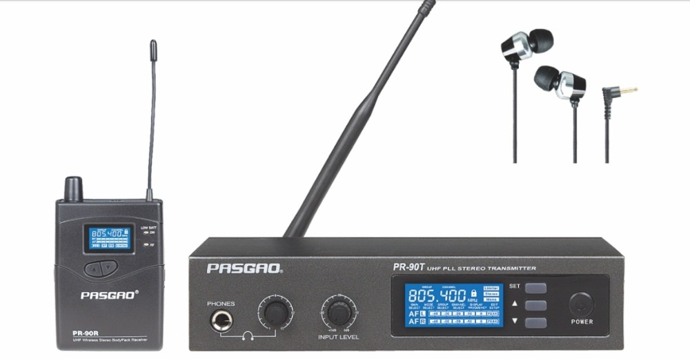Pasgao PR90  stereo in ear monitor system wireless monitor system lightweight and small size 655-679MHZ ukingmei uk 2050 wireless in ear monitor system sr 2050 iem personal in ear stage monitoring 2 transmitter 2 receivers