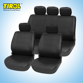 TIROL T21623b Universal PU Black Imitation leather 11 Pieces Front Rear Seat Covers For Crossovers SUV Sedans фото