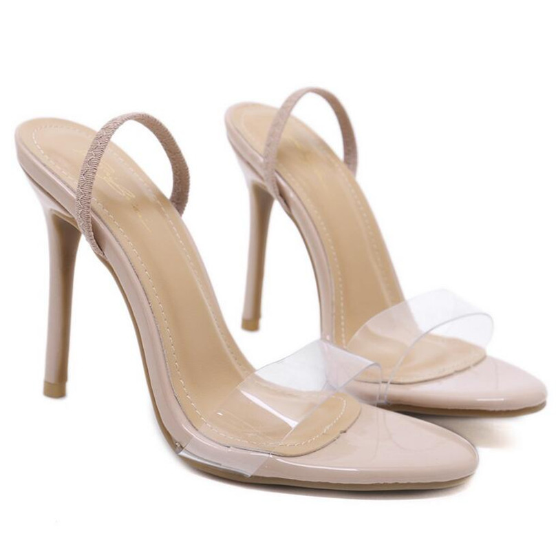 2f44a3746f1 BAYUXSHUO Summer Sandals Women High heels Sexy PVC Slip On Sandalia Party  Wedding Shoes Woman Simple Elegant Stilettos Pumps-in High Heels from Shoes  on ...