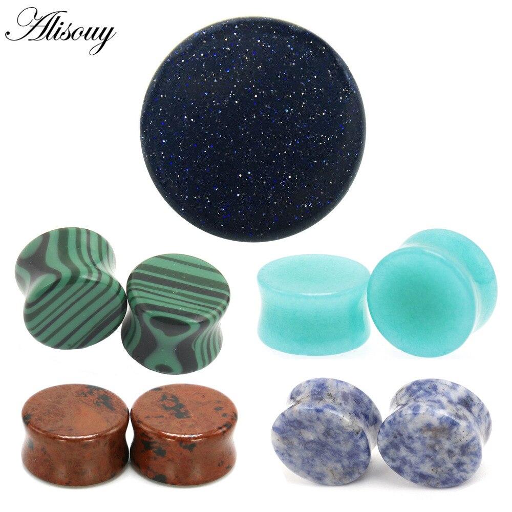 2pcs Stone Ear Plugs Tunnels Ear Piercings Earring Gauges Helix Piercing Ear Stretcher Plugs Oreille Body Piercing Jewelry