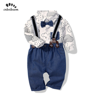 Autumn baby boys clothing sets little gentleman style infant boy short bow tie romper pant toddler outfit kids newborn clothes