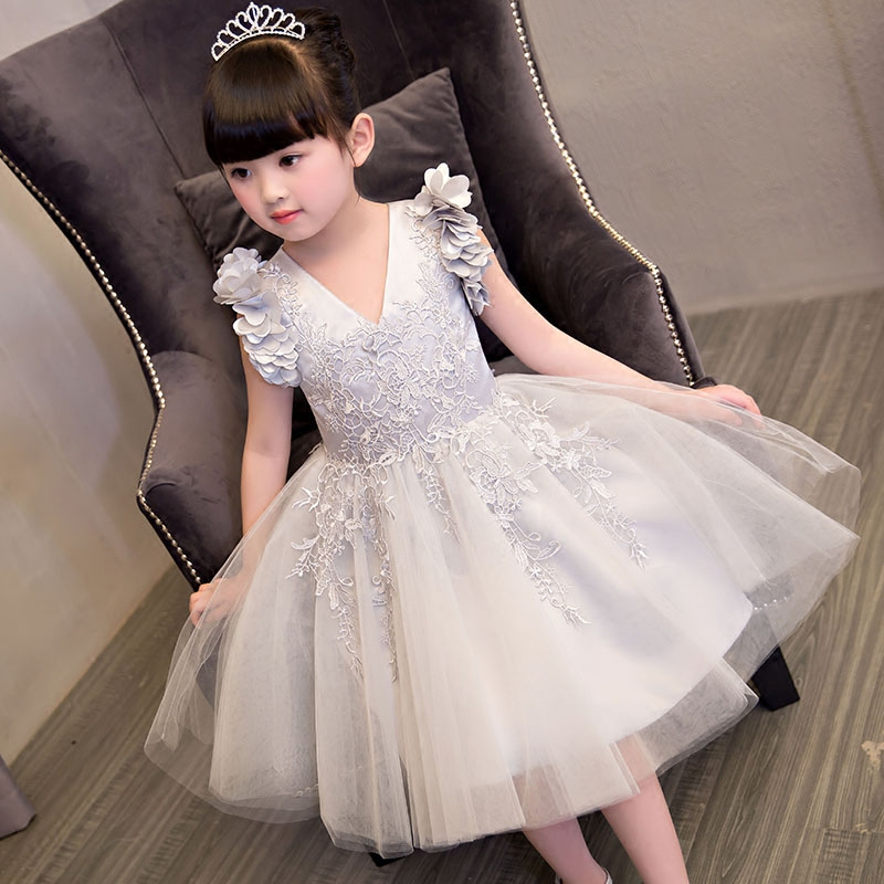 NEW 2017 Europea American Fashion Luxury Children Girls Embroidery Lace flowers Princess Dress Popular Beautiful V