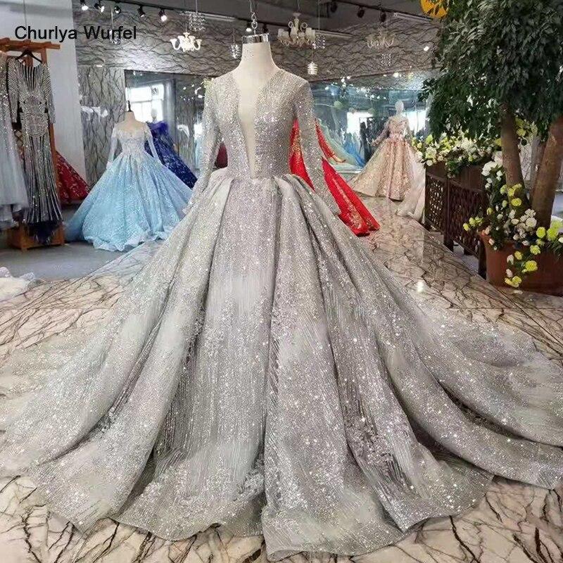 LSS406 brillant luxe robes de soirée avec paillettes profonde col en v manches longues robes de soirée long train dames robe scintillante 2019