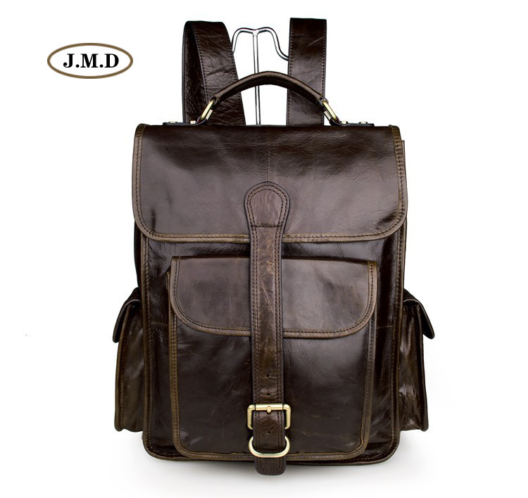 J.M.D High Quality Genuine Cow Leather Causal Large Capacity Travel Rucksack Fashion Backpack Travel Bag Laptop Bag 7283C 100% genuine leather backpack large capacity cow leather travel bags high quality business bag for man women vintage laptop bag