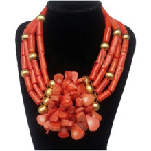 4ujewelry Edo Bridal Jewelry Sets Nigerian Ladies Necklace Set Nature Coral Beads jewellery sets for Women Free Shipping 2018(China)