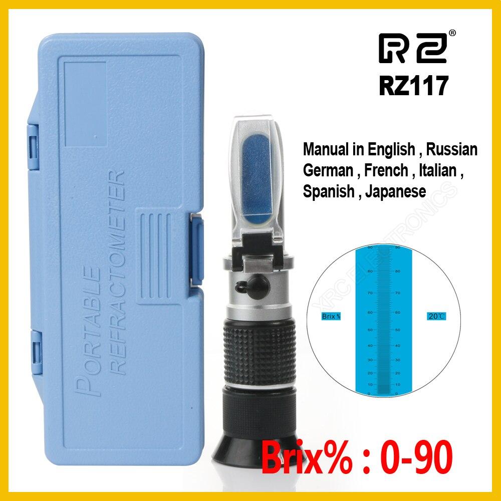 RZ Au Détail Paquet Haute concentration Brix Réfractomètre 0 ~ 90% Miel Abeilles Sucre Alimentaire Boissons ATC Contenu L'apiculture RZ117 Outil