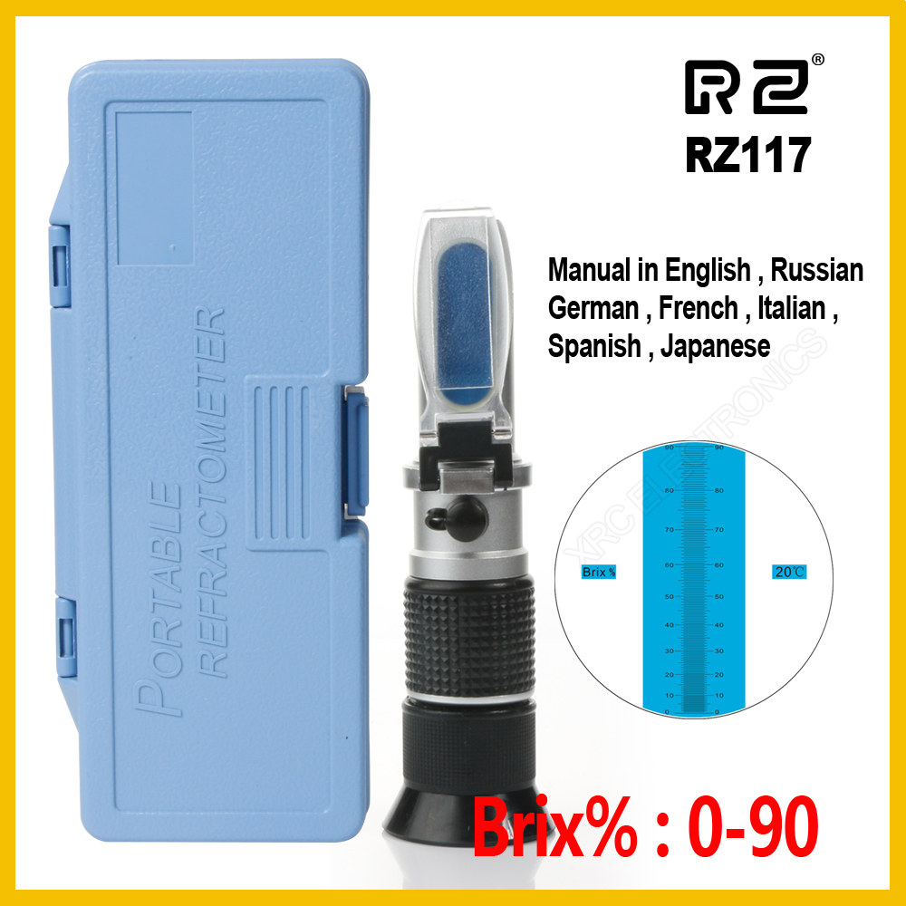 купить RZ Retail Package High concentration Brix Refractometer 0~90% Honey Bees Sugar Food Beverages ATC Content Beekeeping RZ117 Tool