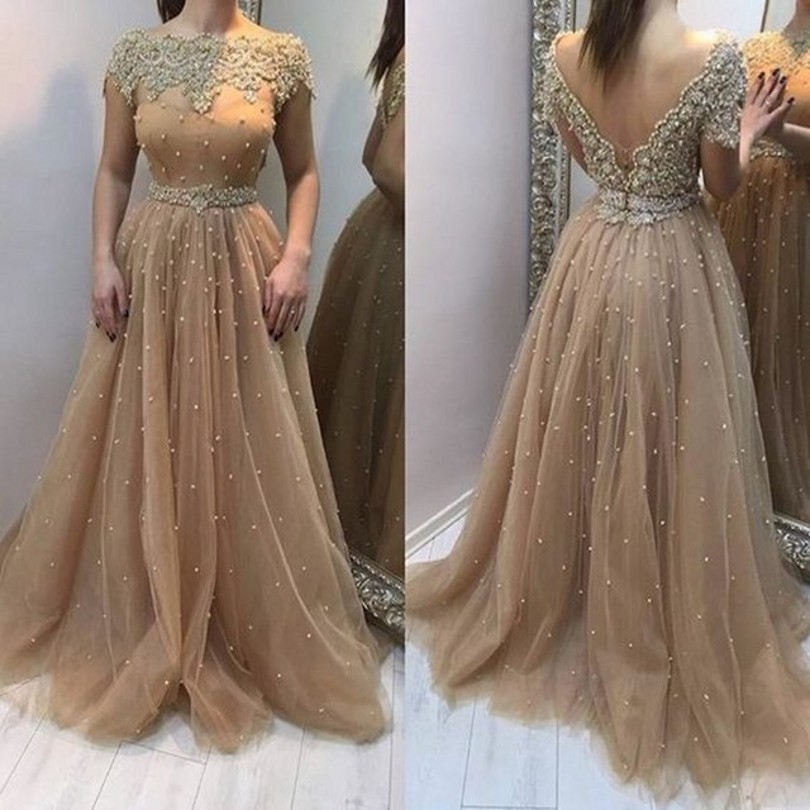 Champagne 2019   Evening     Dresses   With Short Sleeves Deep V Back Formal Gowns For Wedding Party Vestido De Festa