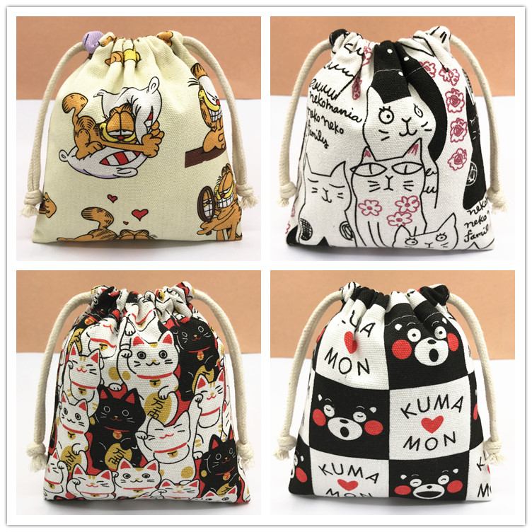 IVYYE 14 or 17CM Kumamon Doraemon Cartoon Drawstring Bags Canvas Storage Handbags Makeup Bag Coin Bundle