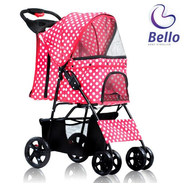 Portable folding   dog cat stroller ,pet strollers  four wheel puppy stroller for small medium dog, multi color,bearing 15KG