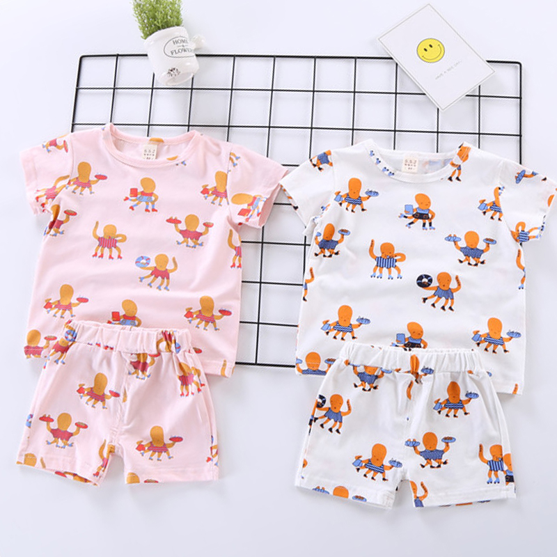 2018 Summer Tiny Cottons Kids Cotton Clothes Sets Boys Girls Cartoon Octopus Pattern Toddlers Baby Clothing Sets Bobo Choses bobo choses пододеяльник