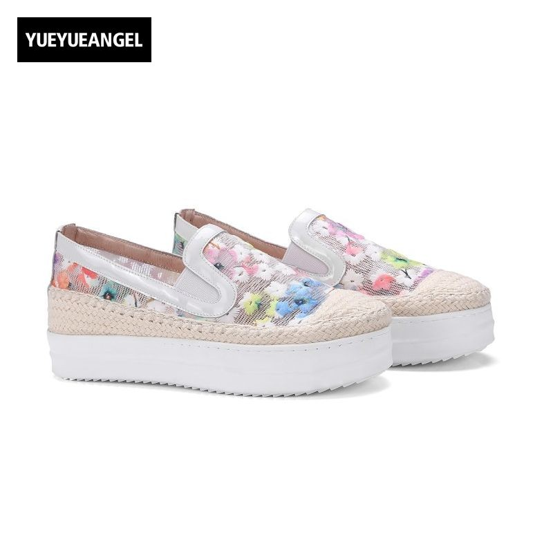 Loafers Fashion Round Toe Slip On Women Pumps Female High Heel Shoes Girls Floral Top Quality Brand Footwear Big Size 43 pink snake print round toe slip on loafers