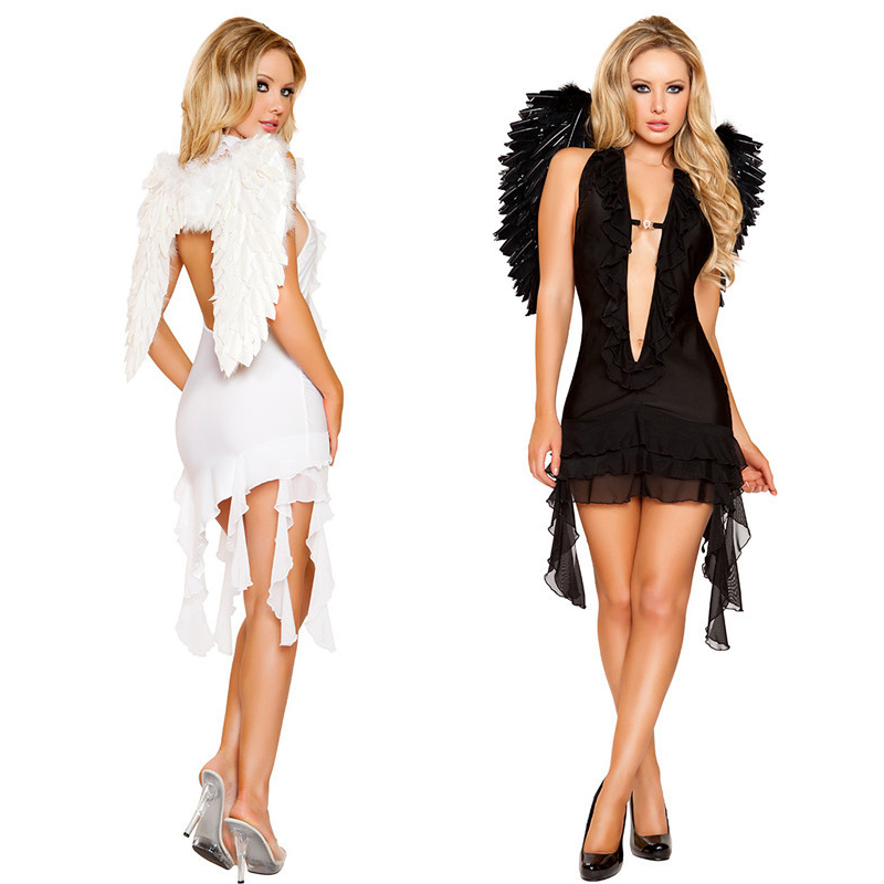 2 Color Hot Popular Black White Sexy Angels Costume Halloween ...