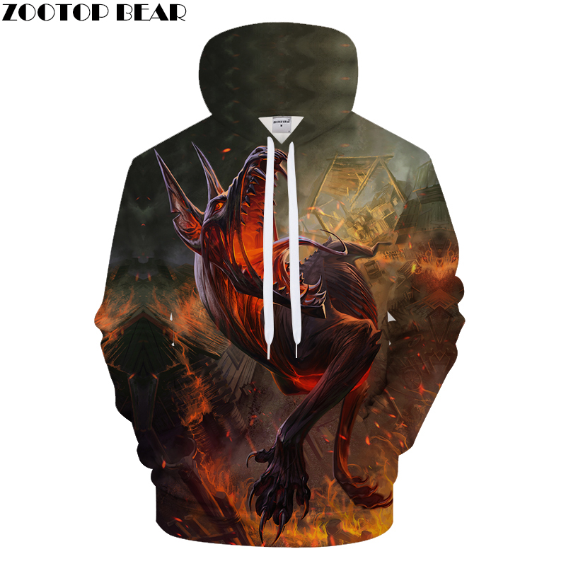 Funny Hoodies Fire Wolf Sweatshirt Harajuku Tracksuit Men 3D Pullover Print Hoody Funny Coat Autumn Hoodie Drop Ship ZOOTOPBEAR