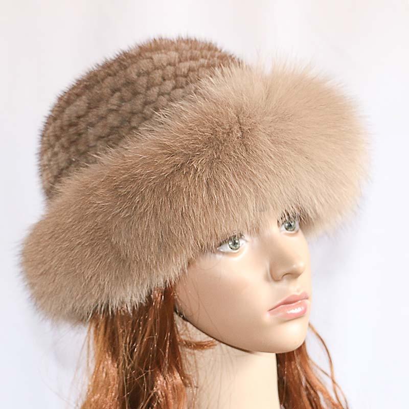 Réel vison fourrure femme chapeau renard fourrure beanie casquettes hiver femme chapeaux mode vison fourrure tricot chapeau