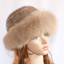 Real mink fur woman hat Fox beanie caps Winter hats Fashion knit