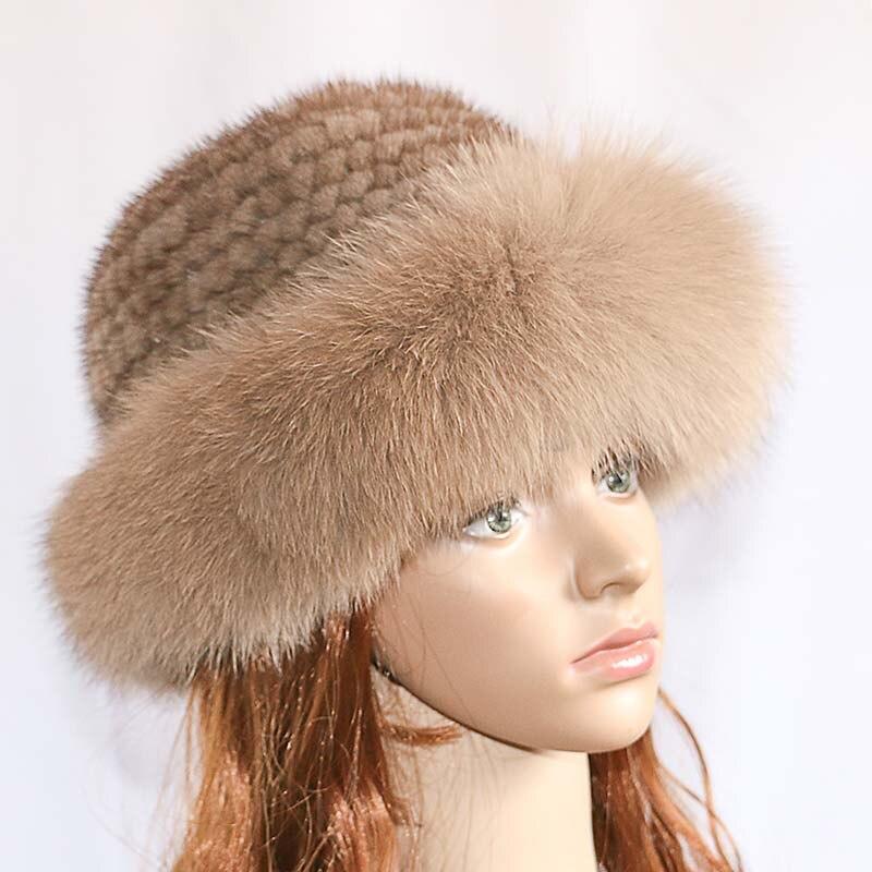 Real mink fur woman hat Fox fur   beanie   caps Winter woman hats Fashion mink fur knit hat