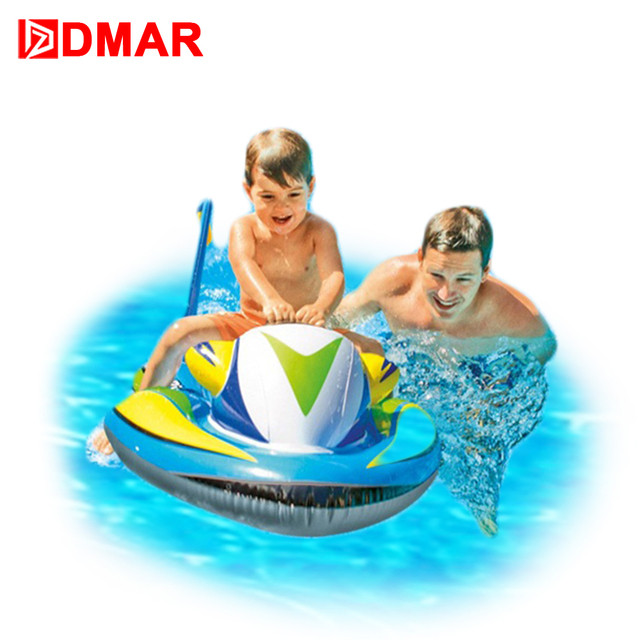 DMAR 117cm 46inch Inflatable Speedboat Pool Float Ride On Toys For Kids  Swimming Ring Circle Inflatable