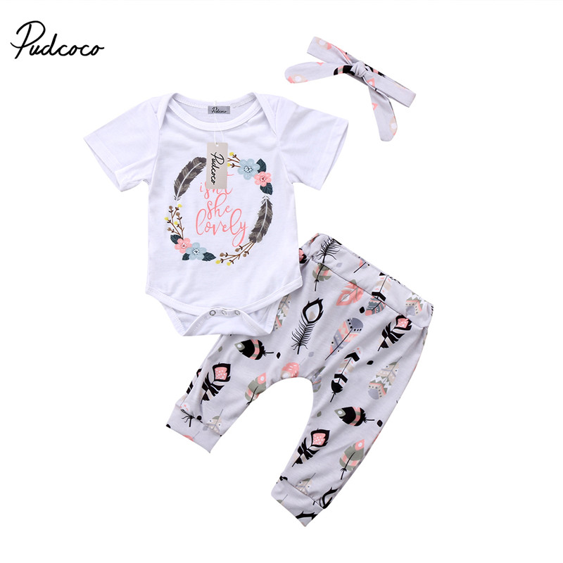 Hot sell Newborn Kid Baby Girls Clothes Cotton Short Sleeve Jumpsuit Romper +Pants+Headband 3pcs Outfits Baby Clothing Set baby girl 1st birthday outfits short sleeve infant clothing sets lace romper dress headband shoe toddler tutu set baby s clothes
