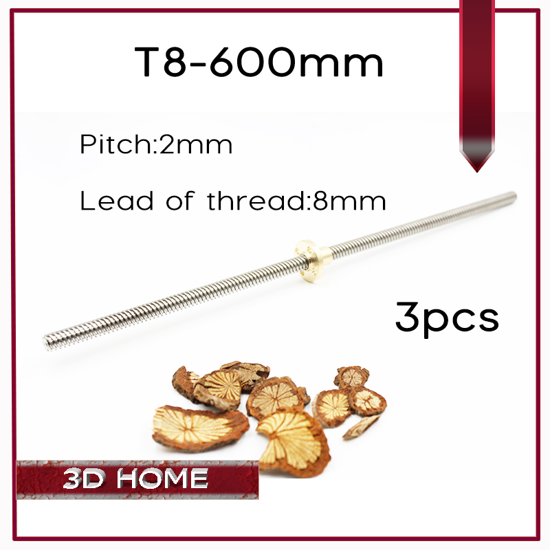 3pcs RepRap 3D Printer THSL-600-8D Lead Screw Dia 8MM Thread 8mm Length 600mm with Copper Nut Free Shipping Dropshipping 3d printer thsl 600 8d lead screw dia 8mm pitch 2mm lead 2mm length 600mm with copper nut free shipping