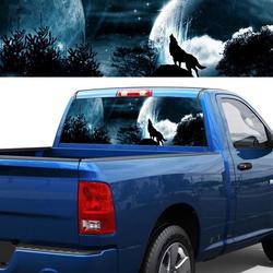 Auto Car tylne okno naklejki z obrazkiem odcień naklejki 4 rozmiary wilk wyjący w nocy fajne Auto naklejki ciężarówka dekoracji w Naklejki samochodowe od Samochody i motocykle na