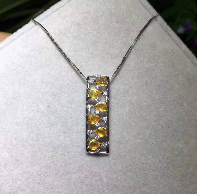 Natural yellow crystal pendant natural citrine pendant necklace s925 natural yellow crystal pendant natural citrine pendant necklace s925 silver fashion rectangle long row women girl aloadofball Image collections