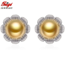 Fashion Flower Pearl Stud Earrings for Women Party Jewelry Gift 8-9MM Golden Freshwater New Design Earring Wholesale FEIGE