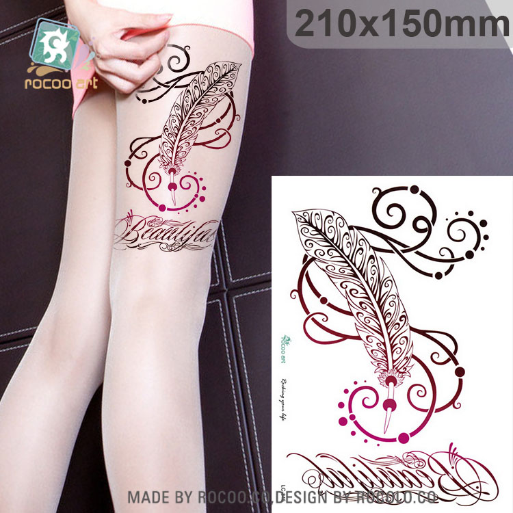 LC-845/Waterproof Temporary Tattoo Stickers Men Women big Scar Cover Flash Tatoo Compass Design black Henna Tattoos arm Leg ...