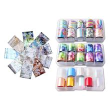 10 Rolls Starry Sky Laser Nail Foil Set Blue Transparent Marble Holographic Nail Art Transfer Sticker Decoration DIY royal blue starry sky holographic nail art transfer foil nails sticker decals nail tip decoration 5cm 120m roll