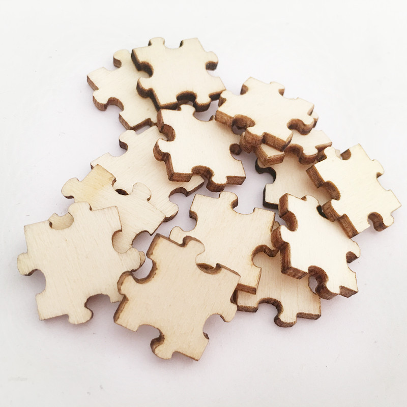 50pcs Unfinished Wood Puzzle Laser Cut Out Discs Natural Wood Pieces Puzzle Shaped For Arts Crafts DIY  Birthday Wedding Display