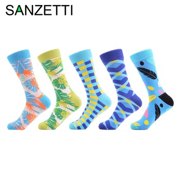 SANZETTI 5 pairs/lot Fashion Men's Cotton Causal Crew Socks Funny Pattern Male Colorful Dress Wedding Socks Novelty Street Wear