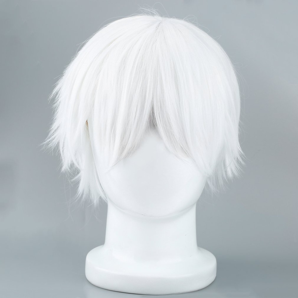 Tokyo Ghoul Cosplay Hairs Short Straight Silver Gray Color Silk Synthetic Hair 2018 Fashion Halloween Masquerade Party Costumes