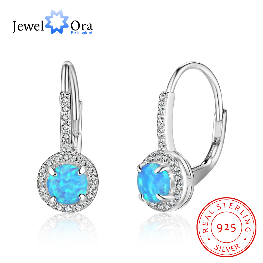 Blue Opal Jewelry Hoop Earring Soild 925 Sterling Silver Earrings For Women Fashion Gift For Party (Jewelora EA102095) 925 sterling silver earrings jewelry with blue opal for women classic drop earrings fox shape permanent fashion anniversary gift