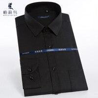 Boleebird Для мужчин Slim Fit Твердые Spread Collar Dress Shirt с левой груди карман мужской черный формальный Бизнес офисные рубашка