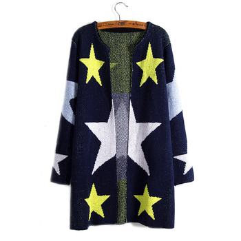 Stars Printed Knitting Cardigan Women's Sweaters