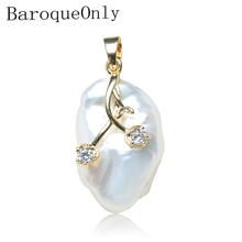 BaroqueOnly Square Shape Irregular Pearl Natural Freshwater White Flat 10-20mm Necklace Pendants  PS