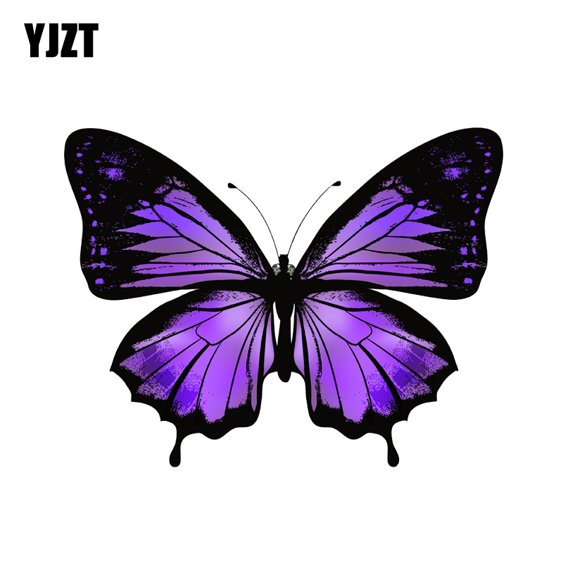 YJZT  13.9CM*10.7CM Interesting Decoration Butterfly PVC Motorcycle Car Sticker 11-00660