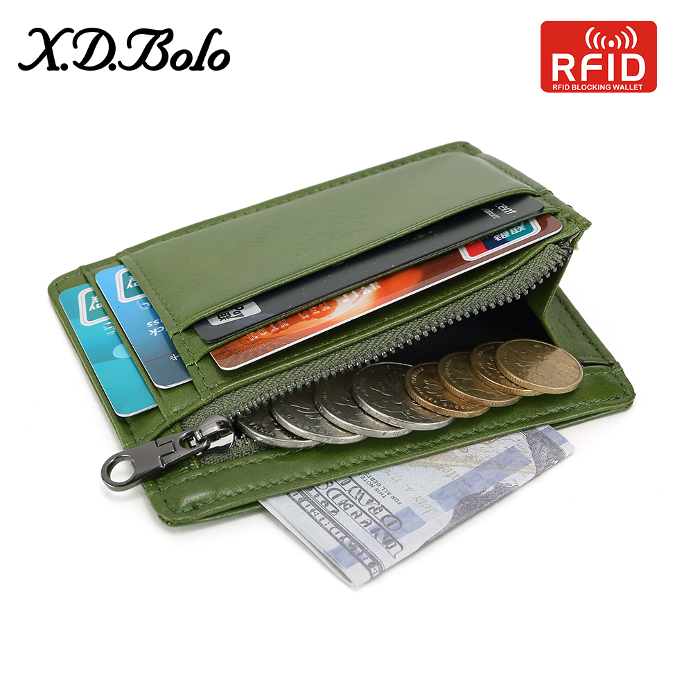 Wallet Rfid-Card-Holders Coin-Pocket Genuine-Leather Women with XDBOLO