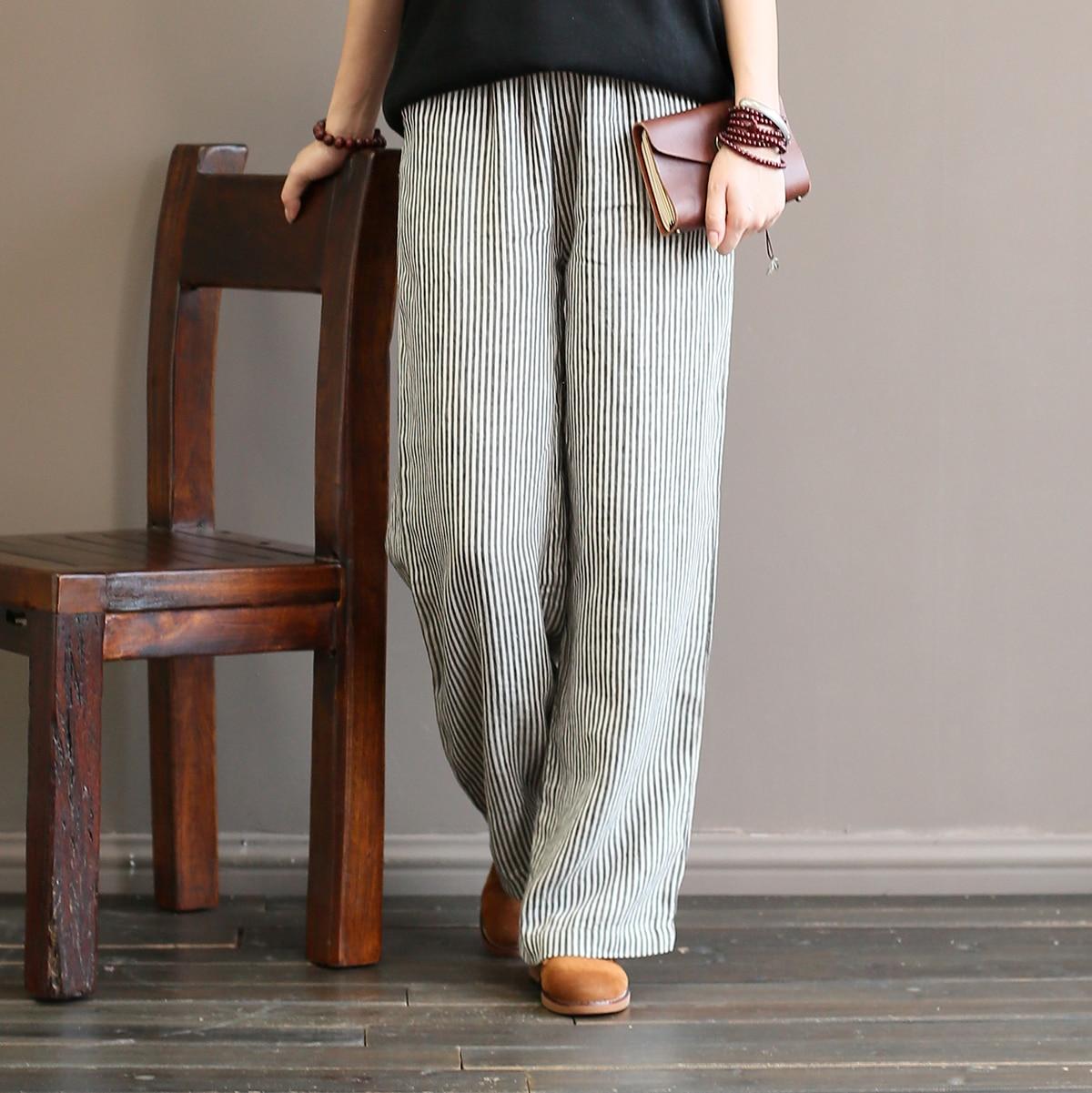 Women Striped Elastic Waist Linen Pants Ladies Stripes Vintage Elastic Waist Trousers Female Retro Stripe Pants