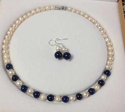 ccf5ff4f94 Venda quente nova-8-9mm White Pearl Lapis Beads Colar Brinco Set 18 V056