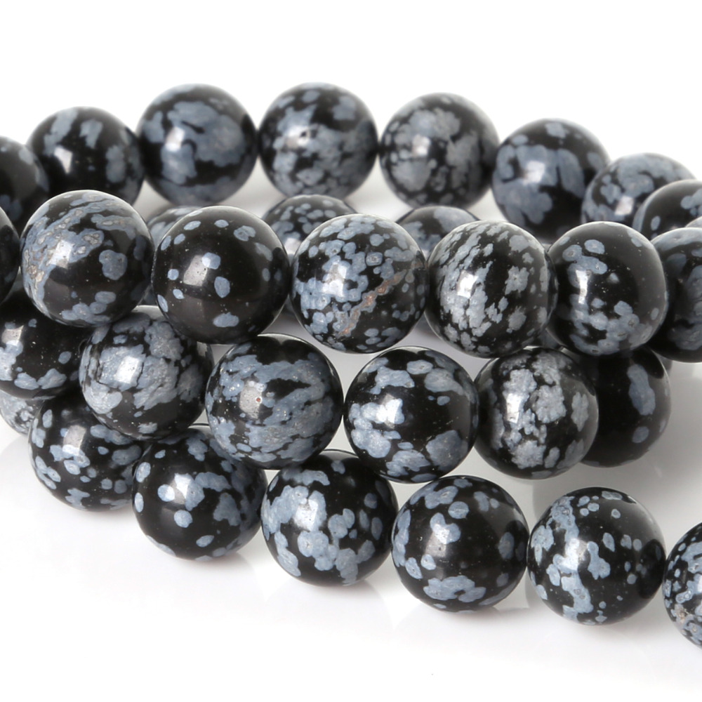 Natural Stone Beads : Mm nicebeads snowflake obsidian stone beads round