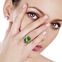 Solid 925 пробы серебряные кольца создан Перидот резные цветок для мужчин кольцо ювелирные украшения свадьба Вечеринка женщин коктейльное кол