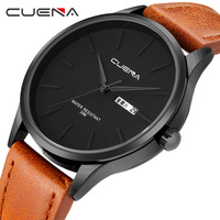 CUENA Luxury Quartz Watches Men Week Display Calendar Genuine Leather Strap Waterproof Clock Man Watches Men