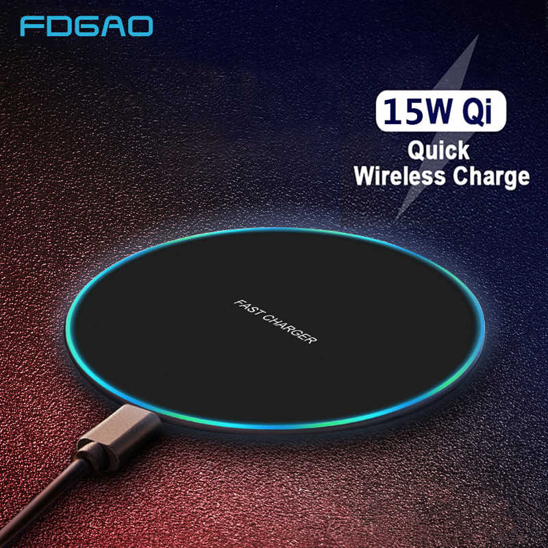 FDGAO 15W Fast Wireless charger for iPhone XS Max X 8 XR Samsung S10 S9 Note 9 Huawei P30 Pro Xiaomi Mi 9 QC 10W Qi Charging Pad