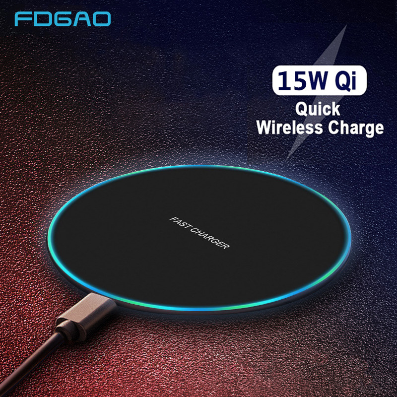 FDGAO 15W Fast Wireless charger for iPhone XS Max X 8 XR 11 Samsung S20 S10 Huawei P30 Pro Xiaomi Mi 10 9 QC 10W Qi Charging Pad