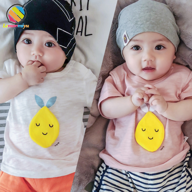Lemonmiyu Cartoon Baby Short Tees Infants O-Neck Fashion Print Summer Tops Newborn Patch T-shirts Toddler Soft Comfort Clothes