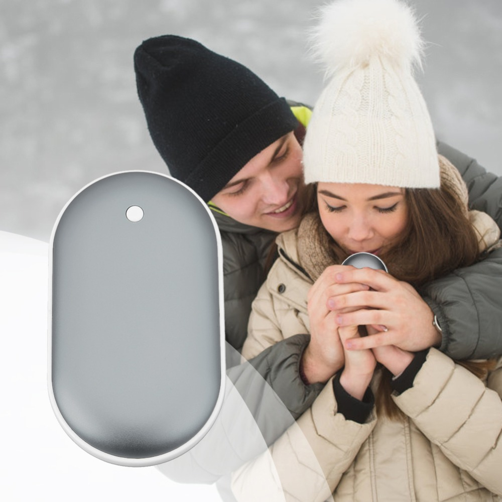 Electric Hand Warmer Cobblestone Shape Mini USB Rechargeable Charging Heater Aluminum Alloy Mobile Phone Charging Power Gift
