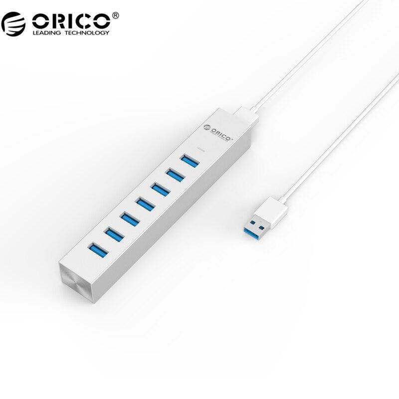 ORICO ASH7-U3-SV New Type C Aluminum 7 Port USB3.0 Hub for Windows XP / Vista / 7 / 8 / 10/ Linux / Unix / Mac OS - Silver