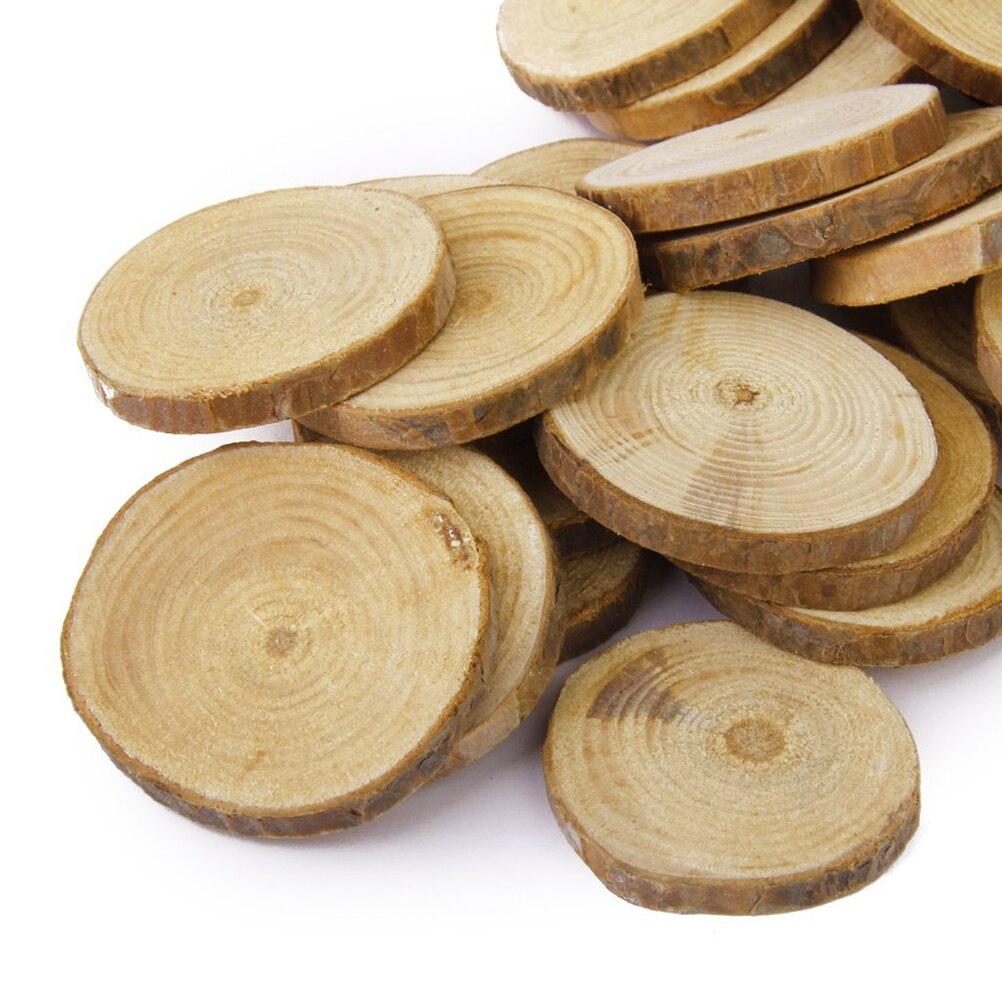 30pcs 4-5CM Wood Log Slices Discs DIY Crafts Wedding Centerpieces Nature Pine...